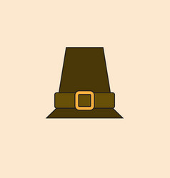 pilgrim hat icon happy thanksgiving day autumn vector image