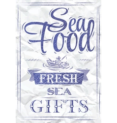 Poster Sea food fresh sea gifts crumpled paper vector image
