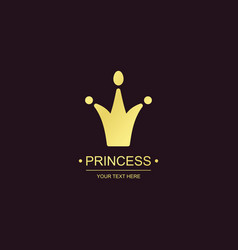 princess crown symbol gold style vector image