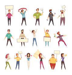 Protesting people decorative icons set vector