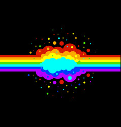 rainbow lines and splash isolated black vector image