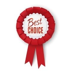 Realistic fabric award ribbon badge best choice vector