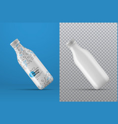 Realistic mockup a white plastic bottle at an vector
