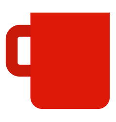 red mug cup icon flat style vector image
