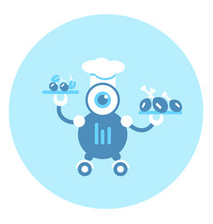 robot cook icon modern robotic mechanism vector image