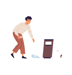Scene with young man collecting rubbish to throw vector
