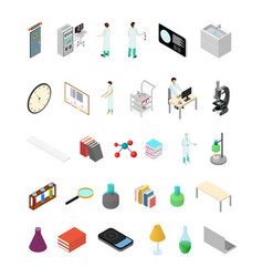 science lab icons set isometric view vector image