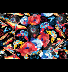 seamless multicolored pattern flowers and vector image