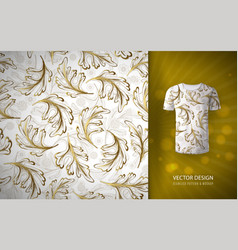 Seamless pattern gold glitter floral elements vector