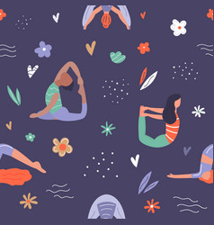 seamless pattern wirh girls in yoga poses vector image