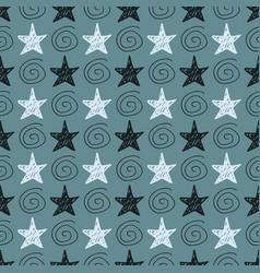 seamless star pattern hand-drawn stars vector image