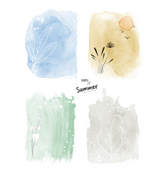 set art summer watercolor and doodle vector image