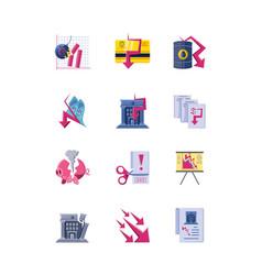 Set icons collapsed economy on white background vector