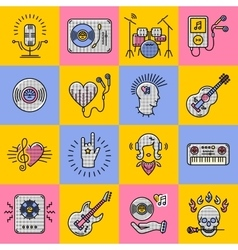Set music icons line art Rock jazz punk vector
