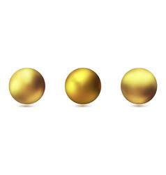 set of realistic gold metal spheres golden vector image