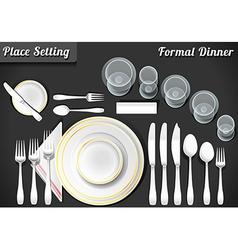 Set place setting formal dinner vector