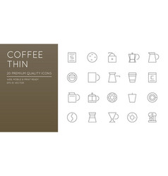 set simple line icons for coffee shop cafe vector image
