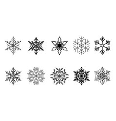 set snowflakes black isolated icon vector image