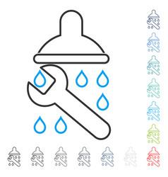 Shower plumbing stroke icon vector