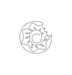 single continuous line drawing stylized donut vector image