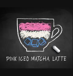 Sketch iced pink matcha latte vector