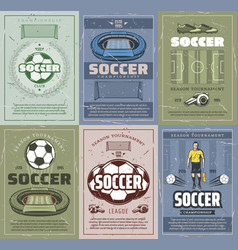 soccer and football sport retro grunge posters vector image
