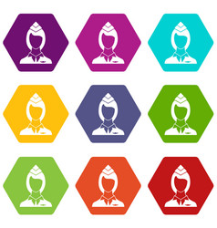 stewardess icon set color hexahedron vector image