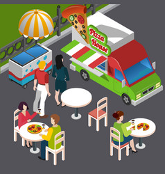 street food isometric composition vector image