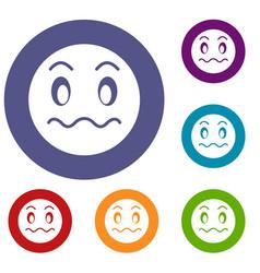 suspicious emoticons set vector image