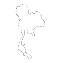 thailand - solid black outline border map of vector image