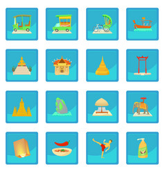 Thailand travel icon blue app vector