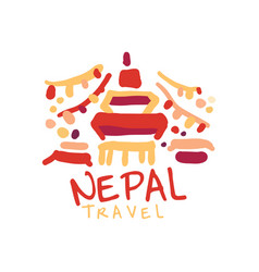 Travel to nepal logo with traditional temple vector