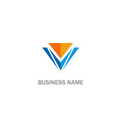 triangle v initial business logo vector image