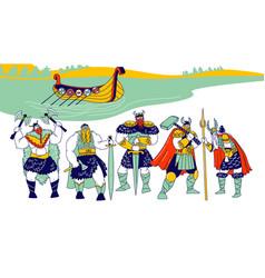 vikings male characters wearing skins helmets vector image