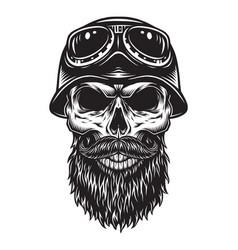Vintage bearded skull biker concept vector