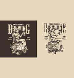 Vintage brewing monochrome label vector