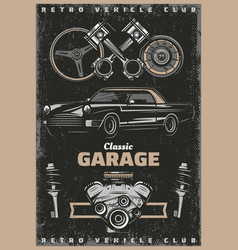 Vintage colored classic garage service poster vector