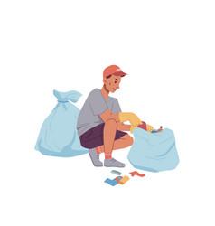 volunteer man gathering trash into bag isolated vector image