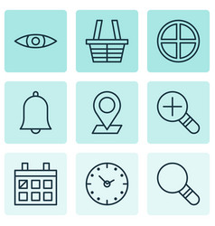 Web icons set with magnifier almanac check in vector