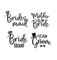 Wedding lettering set black hand lettered quotes vector