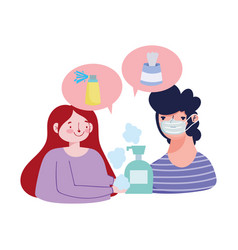 Woman and man with mask soap bottle spray and vector