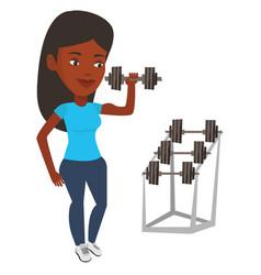 Woman lifting dumbbell vector