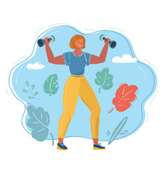 woman with dumbbells vector image