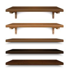 wood shelves set wall group vector image