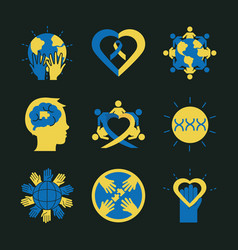 World down syndrome day set icons support vector
