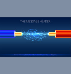 electric cable with sparks horizontal design for vector image
