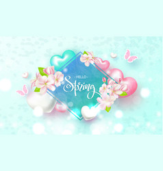 hello spring beautiful background with flowers vector image vector image