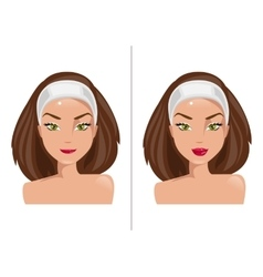 Lips before and after surgery vector image vector image