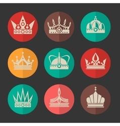 royal crowns icons set vector image vector image