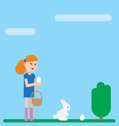 ester holiday card girl is collecting eggs vector image